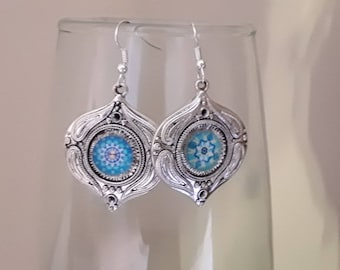 Earrings silver and 12 mm glass cabochon earrings