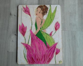 puzzle wood manually woman flower