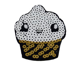 Patch/Ironing-muffin cupcake with sequins-white/gold-8.3 x 6.2 cm-by catch-the-Patch ® patch appliqué applications for ironing application patches patch