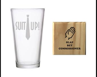 Suit Up! Pint Glass and Slap Bet Commissioner Wooden Coaster Set