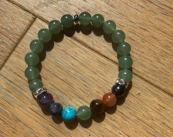 Zen women seven chakras and aventurine bracelet
