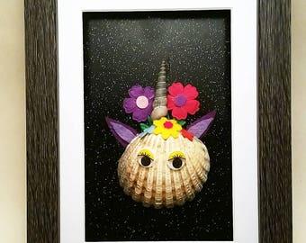 Sparkle Like a Unicorn Shell Art Framed Picture
