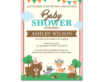 PRINTABLE Woodland Baby Shower Invitation    Forest Animals      Woodland Baby Shower   Fox, Deer, Bear,Raccoon,    Instant download