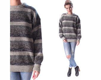 BOYFRIEND SWEATER 90s Grunge Striped Ribbed Speckled Knit Pullover Baggy Loose Hipster Jumper Sage Green Grey Simple Minimal Women Men XL