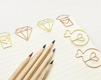 Lovely Paper Clips Set #2 - Paper Clips, Coffee Cup, Diamond, Fish