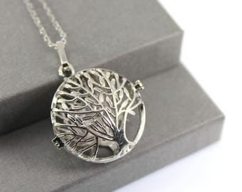 Tree of Life Locket with Fillable Glass Orb, Memorial Jewellery, Urn Locket, Cremation Necklace, Cremation Jewelry,  Fillable Jewellery