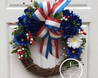 Patriotic Wreath, Memorial Day Wreath, 4th of July Wreath, Americana Wreath, Front Door Wreath, Red White Blue Wreath,Summer Wreath