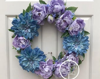 Spring Wreath, Peony Wreath, Lavender Wreath, Grapevine Wreath, Front Door Wreath, Wreath Street Floral, Door Wreath, Everyday Wreath