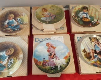 Lot of 6 Vintage Mother Goose Series by John McClelland Limited Edition Collector Plates - Little Boy Blue