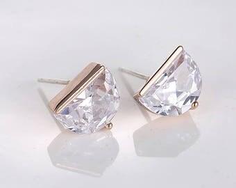 Silver Earrings, Rose Gold Crystal Studs, Bridal Gemstone Earrings, Bridesmaid Gift, Half Moon Shape Earrings Studs, Elegant Minimal Earring
