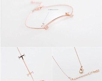 Minimal T-bar classic Rose Gold Bracelet, Baguette Crystal fine bracelet, Gift gemstone bracelet, Elegant Classic bridesmaid engagement