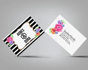 Black White Flower Business Cards - Agnes and Dora
