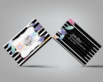 Custom Business Card - black, white stripes with feathers