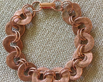 Copper Bracelet/ handcrafted chain link/each piece cut, filed,sealed individually by hand/TVCableJewelrybyML/recycled copper/unisex bracelet
