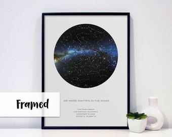 Personalized Gift | White Custom Star Map | Personalized Christmas Gift | The Night Sky | Constellation Map | 18x24 FRAMED POSTER |