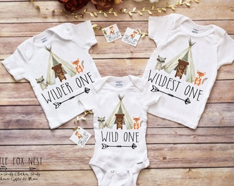 Wild One, Birthday Shirts, Triplet Gifts, Triplet Onesie®, Sibling Shirts, Twins Birthday, Woodland Creatures Birthday, Triplet Shirt, Baby