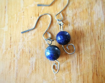 Lapis Lazuli Bead Earrings