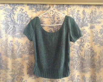 Vintage 1940's Hand Knit Short Sleeved Sweater