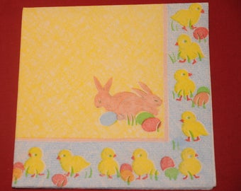 """theme """"Bunnies and chicks"""" Easter napkin"""