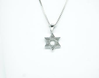 Star of David Sterling Silver Pendant and Necklace