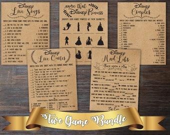 Disney Bridal Shower Games Bundle . Games Bundle . Bridal Shower Bundle . Bridal Shower Games Package . Disney Bridal Shower Activities .