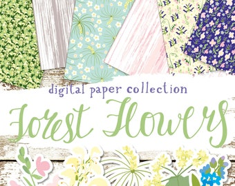 Digital Scrapbook Paper Set Forest Flowers. Printable designs and backgrounds for scrapbooking