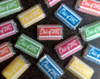 Colorful Class of 2017 Miniature Candy Bar Wrappers