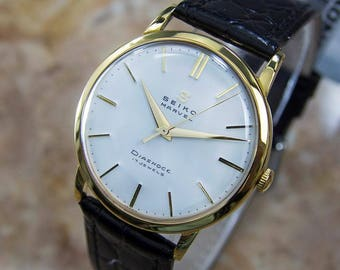 Seiko Marvel 1950s Manual Gold Plated Mens Vintage Japanese Dress Watch Q49