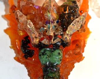 Om - Aum Crystal Dragon Guardian with Selenite, Carnelian, Onyx, Ruby in zoisite, Hematite, Goldstone & Serpetine