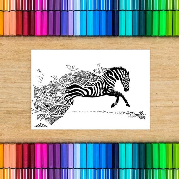 Postcard coloring - Zebra...
