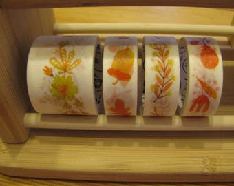 Japanese Washi Tape Autumn Pack of 4, Washi Tape Set of 4, Washi Masking Tape, Scapbook Tape, Scrapbooking, Seasons