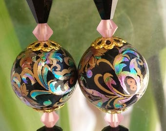 Round acrylic Japanese Tensha beads colorful earrings.