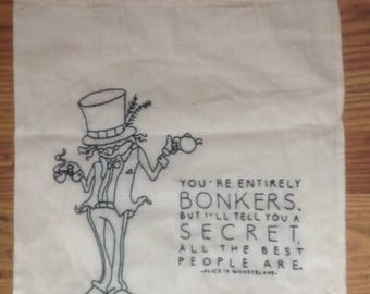 Mad Hatter Tote/Shopping/Book Bag