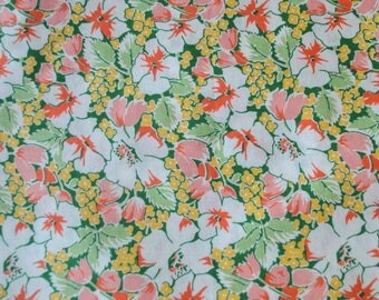 Vintage Floral Print Fabric White Peach Orange Green Yellow Fabric By The Yard 4 Plus Yards