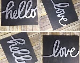 Hello / Love Home Decor Signs