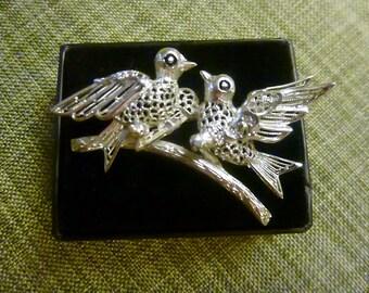 Vintage Sterling Silver Love Birds Brooch-Germany