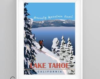 HEAVENLY Ski Resort, LAKE TAHOE Vintage Travel Poster, California, A4/A3 Print, Custom Options.