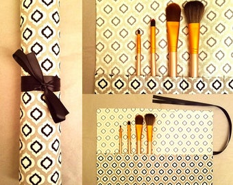 Makeup Brush Roll   Black, Gray & White with Ribbon Tie