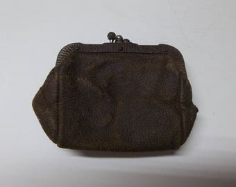 Antique Leather Coin Change Purse