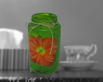 Poppy Orange Vase Glass Green