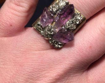 Amethyst and Pyrite Antique Bronze Boho Gypsy Witchy Ring