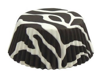 Zebra Cupcake Liners - 50 ct, Black and White, White and Black, Animal Print, Animal Theme, Girls Night Out,