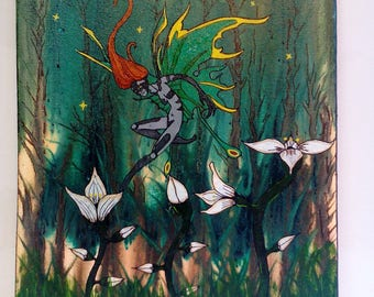 Fairy flying over flowers acrylic painting