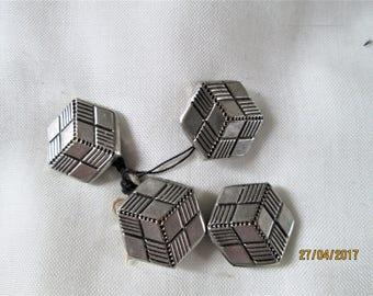 Vintage Metal Buttons, 1950's buttons, geometric designs, dress accessories, upholstery buttons