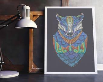 "RESERVED for JAMES - Badger Totem, hand-embellished print, 8""x11"" with 0.5"" white border."