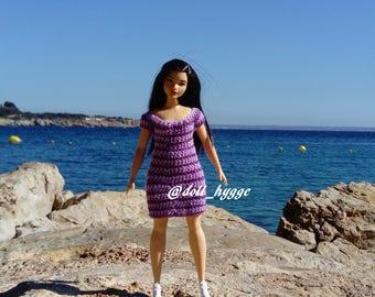 Crochet striped dress for a curvy barbie doll