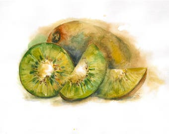Kiwi print. fruit print kiwi watercolour.JPEG.Digital Prints.
