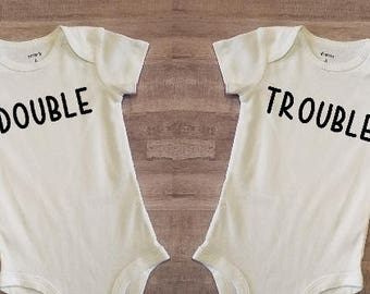 Twin Set Double Trouble Funny Cute Onesies Tshirts Toddler Infant Baby