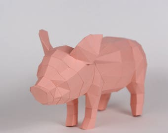 Pre-cut and Pre-scored Piglet Kit - Low Poly Animal