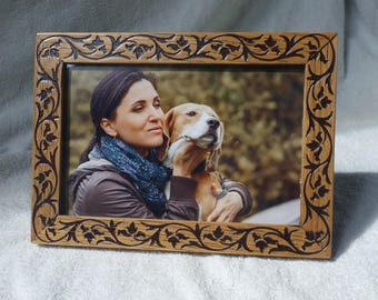 Photo Frame Vintage Style Free Shipping  Wood Engraving Nature Ornament Handmade  Oak Picture Frame Wedding Birthday Mother Day Gift